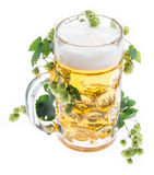 Mug of Beer with Hops on white Stock Photo