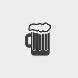 Mug of beer icon in a flat design in black color. Vector illustration eps10 Stock Image