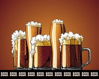 Mug with beer illustrated poster. Illustrated poster of mug with beer Royalty Free Stock Photo