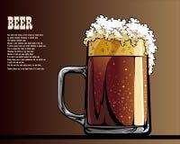 Illustrated poster of mug with beer. Mug with beer illustrated poster Stock Images