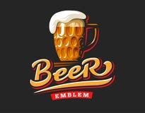 Mug beer logo- vector illustration, emblem brewery design Royalty Free Stock Photography