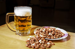 Mug of beer and peanuts Royalty Free Stock Photography
