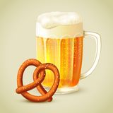 Mug of beer pretzel emblem Stock Images