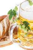 Mug of Beer and Pretzels on white Stock Photos