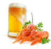 Mug with beer and red lobsters isolated on a white background Stock Photo