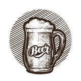 Mug of beer symbol. Cold and fresh ale icon. Vector illustration. Isolated on white background Royalty Free Stock Photo