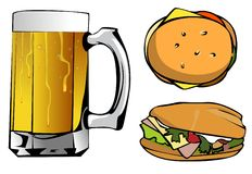 Mug of beer and two burgers Stock Image