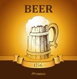 Mug of beer. vintage mug. Ear of wheat Vector Illustration
