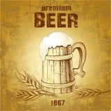 Mug of beer. vintage mug. Ear of wheat Stock Illustration