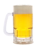 Mug of Beer on White. A cold frosty mug of beer on a white background Royalty Free Stock Photo