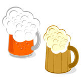 Mug of beer. On a white background. Two options Royalty Free Stock Photography