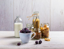 Mug with blackberries and cereal in jars in the background Royalty Free Stock Photography