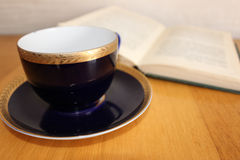 Mug and a book. Blue mug with saucer and open book Royalty Free Stock Photo