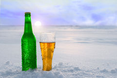 Mug and bottle of cold beer in the snow at sunset. Beautiful winter background. Outdoor recreation. Royalty Free Stock Image