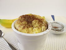 Mug cake from the microwave with banana and cocoa Stock Images