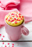 Mug cake prepared in microwave Royalty Free Stock Images