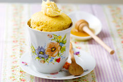 Mug cake prepared in microwave Stock Photo