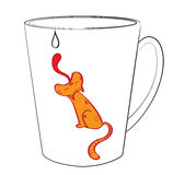 Mug with a cat. Cat who tries to sliznut the drop slipping from a mug Royalty Free Stock Photo