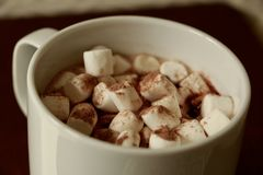 Mug of Cocoa with mini marshmallows. Hygge. stock photography