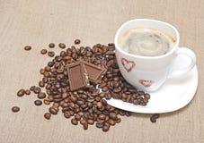 Mug coffee and coffee beans Royalty Free Stock Image