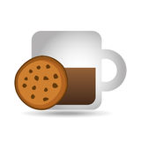 Mug coffee cookie round bakery icon design graphic Stock Images