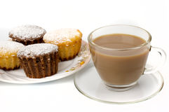 Mug of coffee and cupcakes Royalty Free Stock Photos