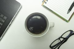 Cup of coffee on white background royalty free stock photos