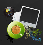 Mug of coffee and a photo. Vector background for your text with a mug of coffee and a photo Stock Photo