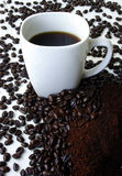A Mug of Coffee Surrounded by Coffee Beans. This is a mug of coffee surrounded by coffee beans and grounded coffee.  Would be ideal for a Coffee Break sign Royalty Free Stock Photography