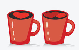 Mug of coffee or tea with heart, vector illustration. Royalty Free Stock Photography