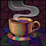 Mug of coffee or tea in saturated colors. Royalty Free Stock Image