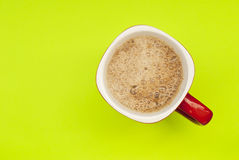 Mug of coffee, top view. Royalty Free Stock Images