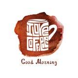 Mug of coffee,watercolor splash.Lettering Stock Image