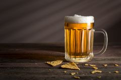 Mug of cold light beer Royalty Free Stock Photo