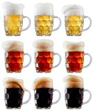 Mug collection of frosty beer with foam Stock Photography