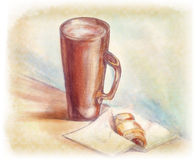 Mug and croissant. Still life with a mug and croissant stock illustration