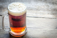 Mug with dark beer on the wooden table Stock Image