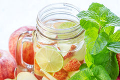 Mug delicious refreshing drink of apple fruits with mint Royalty Free Stock Photography