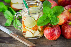 Mug delicious refreshing drink of apple fruits with mint Stock Images