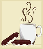 Mug and Donuts. A mug with chocolate glazed donuts Stock Illustration