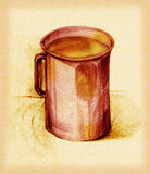 Mug with a drink. In pencil vector illustration
