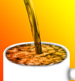 Mug with drink. White mug with drink. Drawn close to photorealism. The stream of water falling from above. All this is done on an orange-yellow background Stock Images