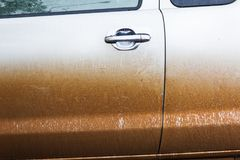 The mug and dust cover the car, dirty or unclean car in rainny s. Eason Stock Image