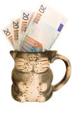 Mug euro money. Mug money euro cat euro cat Stock Image
