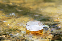 Mug of excellent beer sparkles in the sun in a  mountain stream Royalty Free Stock Photo