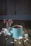 Mug filled with hot chocolat near marshmallow  and candy canes i. Mug filled with hot chocolat near marshmallow, candy canes in the glass Stock Photos