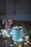 Mug filled with hot chocolate and marshmallow  and candy canes i Royalty Free Stock Photos