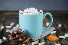 Mug filled with hot chocolate and marshmallow, with chocolate Stock Photos