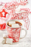 Mug filled with hot chocolate and marshmallows Royalty Free Stock Image