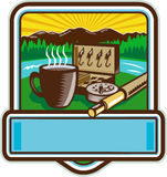Mug Fly Tackle Bait Box Rod Reel Crest Woodcut. Illustration of a mug, fly tackle bait box, fly rod and reel set inside crest shield with mountain river trees stock illustration